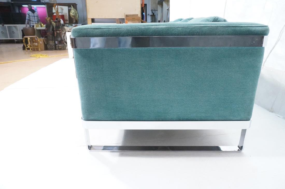 MILO BAUGHMAN Chrome Frame Modern Sofa. Teal gree - 5