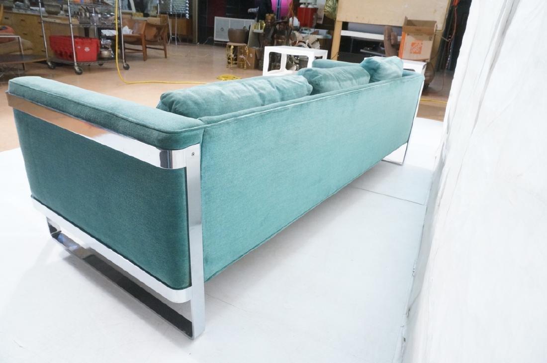 MILO BAUGHMAN Chrome Frame Modern Sofa. Teal gree - 6