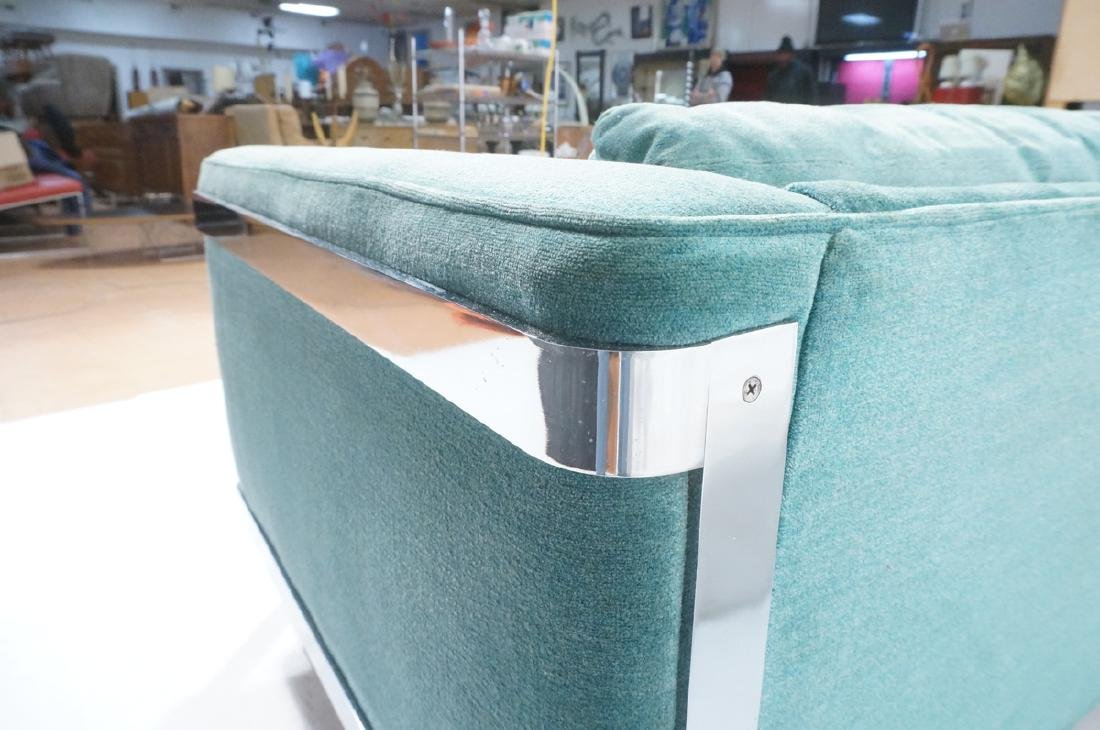 MILO BAUGHMAN Chrome Frame Modern Sofa. Teal gree - 7