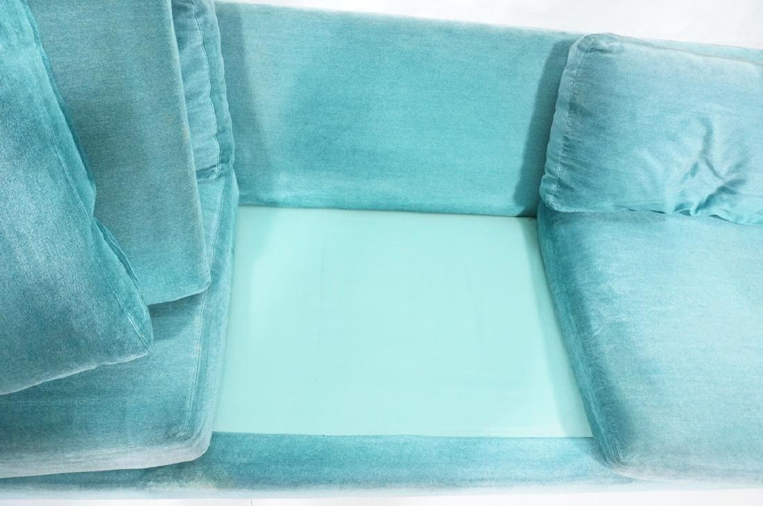 MILO BAUGHMAN Chrome Frame Modern Sofa. Teal gree - 8
