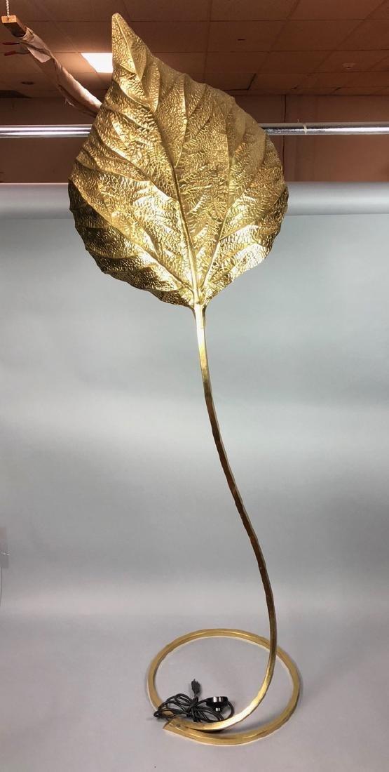 TOMMASO BARBI Brass Leaf Floor Lamp. Modernist br