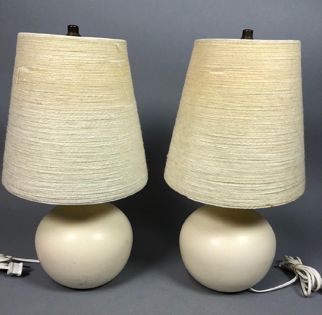 Pr BOSTLUND Cream Glazed Ceramic Lamps. Short bul