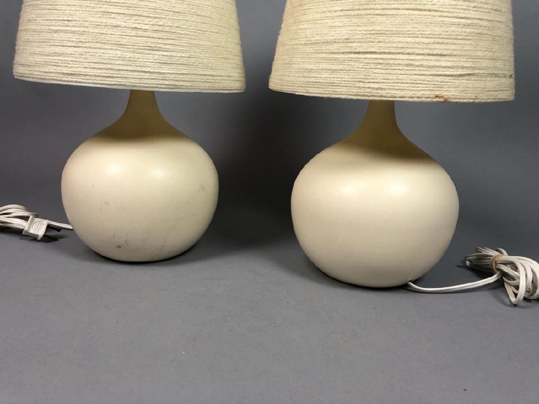 Pr BOSTLUND Cream Glazed Ceramic Lamps. Short bul - 2