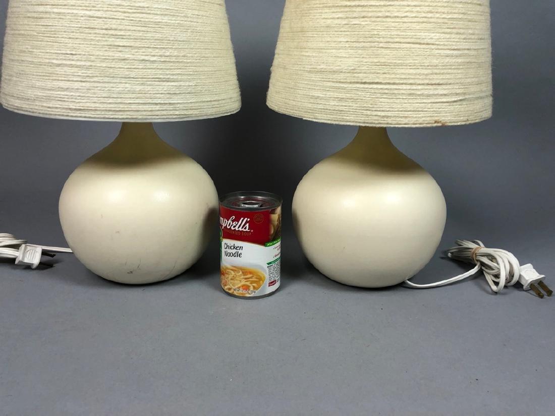 Pr BOSTLUND Cream Glazed Ceramic Lamps. Short bul - 6