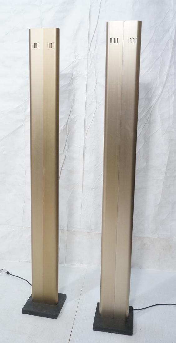 Pr Tall Modernist Gold Aluminum Floor Lamps. Thin