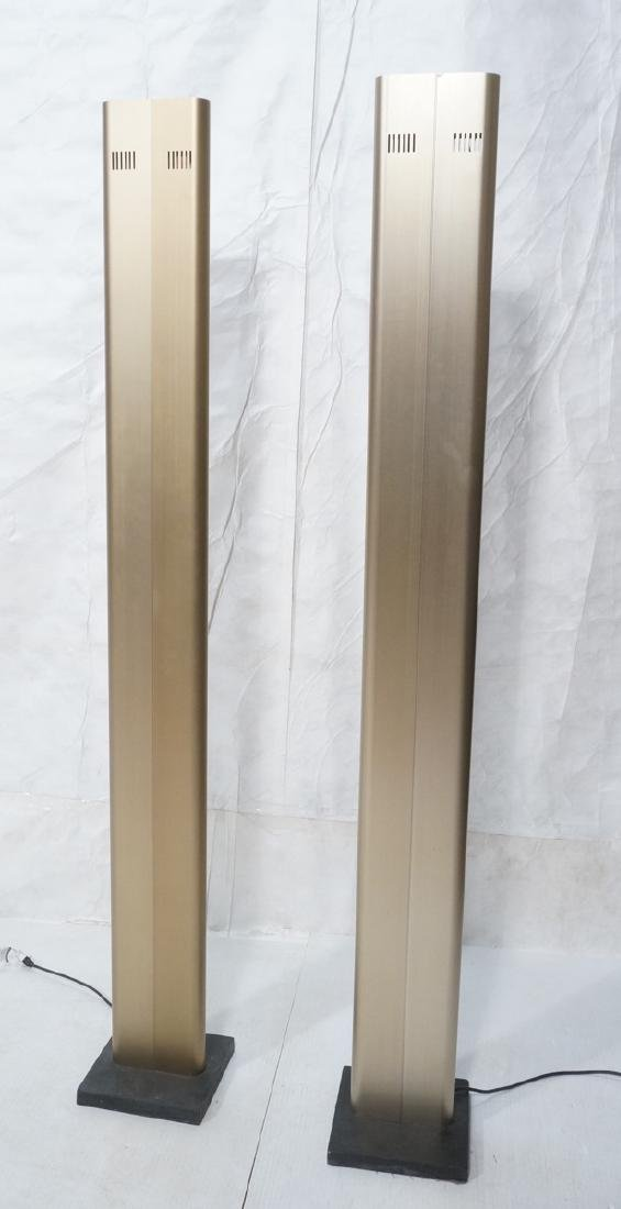 Pr Tall Modernist Gold Aluminum Floor Lamps. Thin