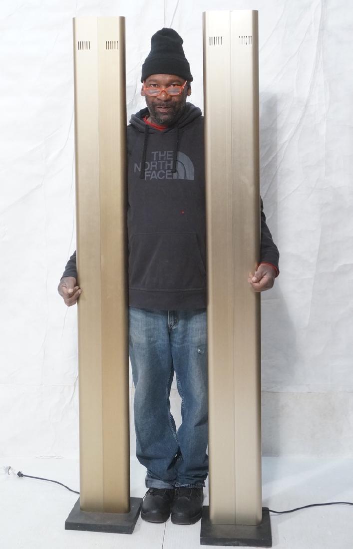 Pr Tall Modernist Gold Aluminum Floor Lamps. Thin - 2
