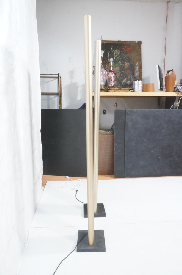 Pr Tall Modernist Gold Aluminum Floor Lamps. Thin - 5