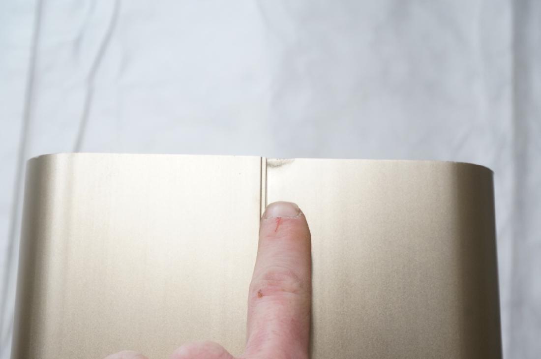 Pr Tall Modernist Gold Aluminum Floor Lamps. Thin - 8