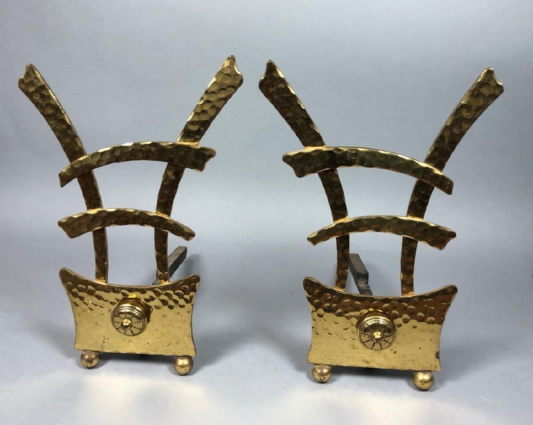 Pr Hammered Texture Modern Brass Andiron Firedogs