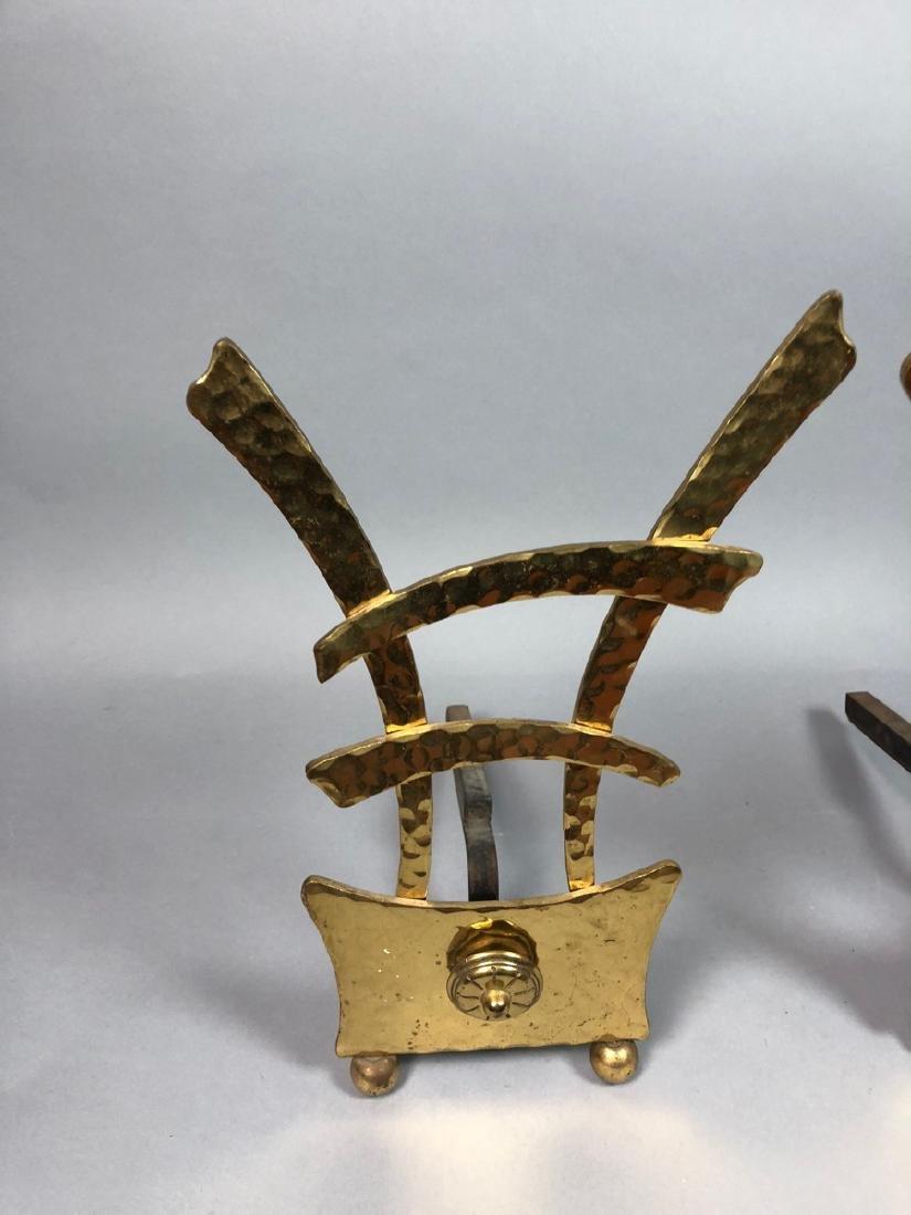 Pr Hammered Texture Modern Brass Andiron Firedogs - 2