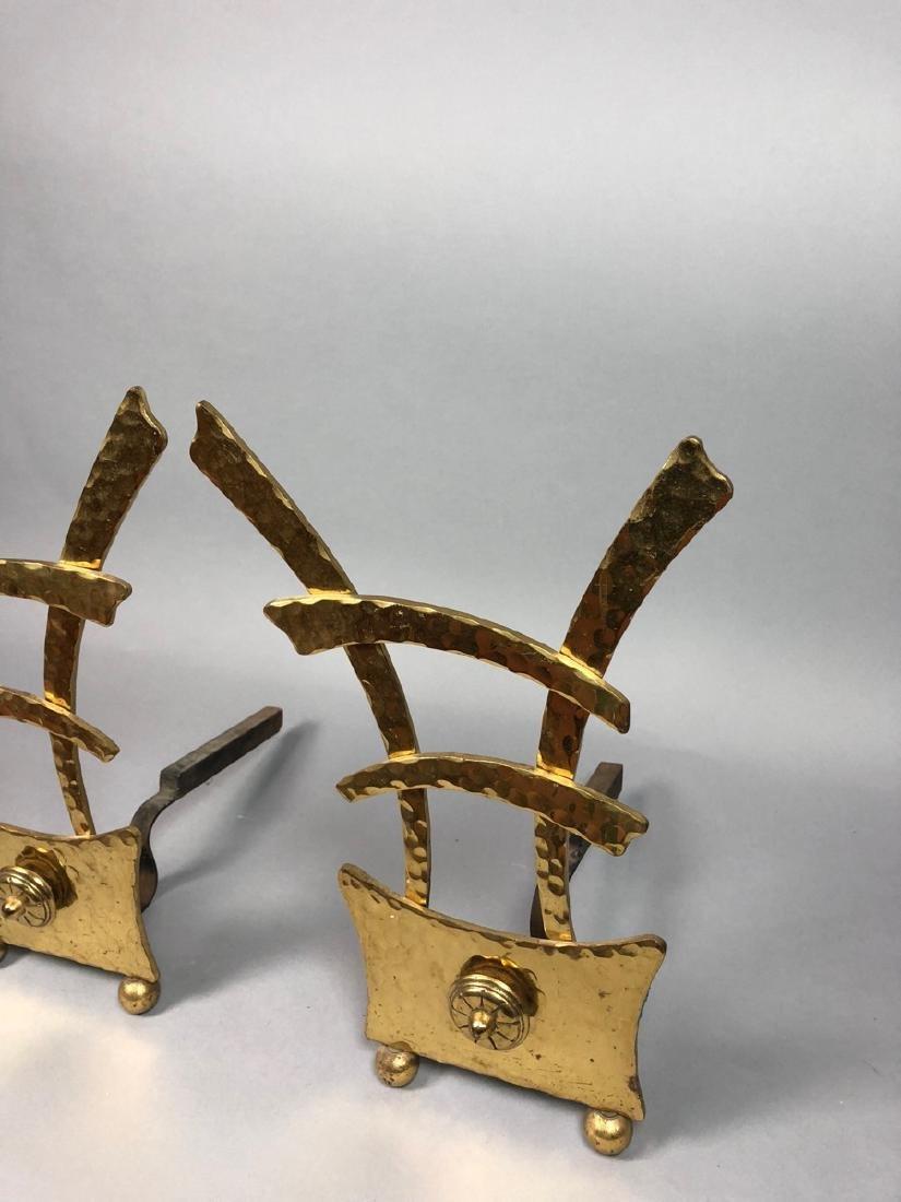 Pr Hammered Texture Modern Brass Andiron Firedogs - 3