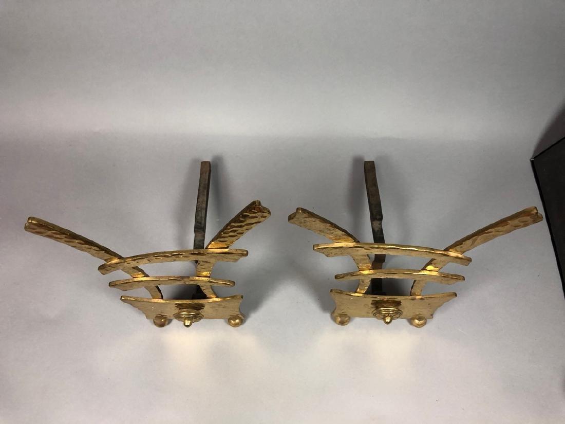 Pr Hammered Texture Modern Brass Andiron Firedogs - 4