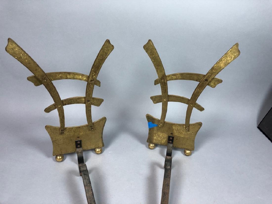 Pr Hammered Texture Modern Brass Andiron Firedogs - 5