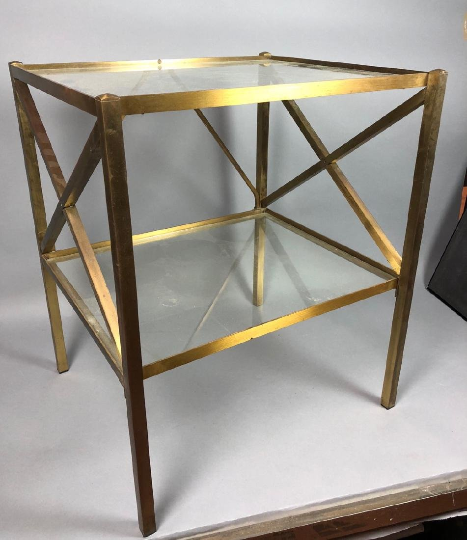 Two Tier Brass & Glass Side End Table. Brass Squa