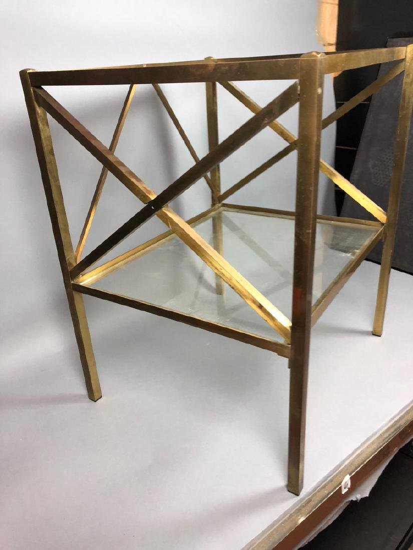 Two Tier Brass & Glass Side End Table. Brass Squa - 2
