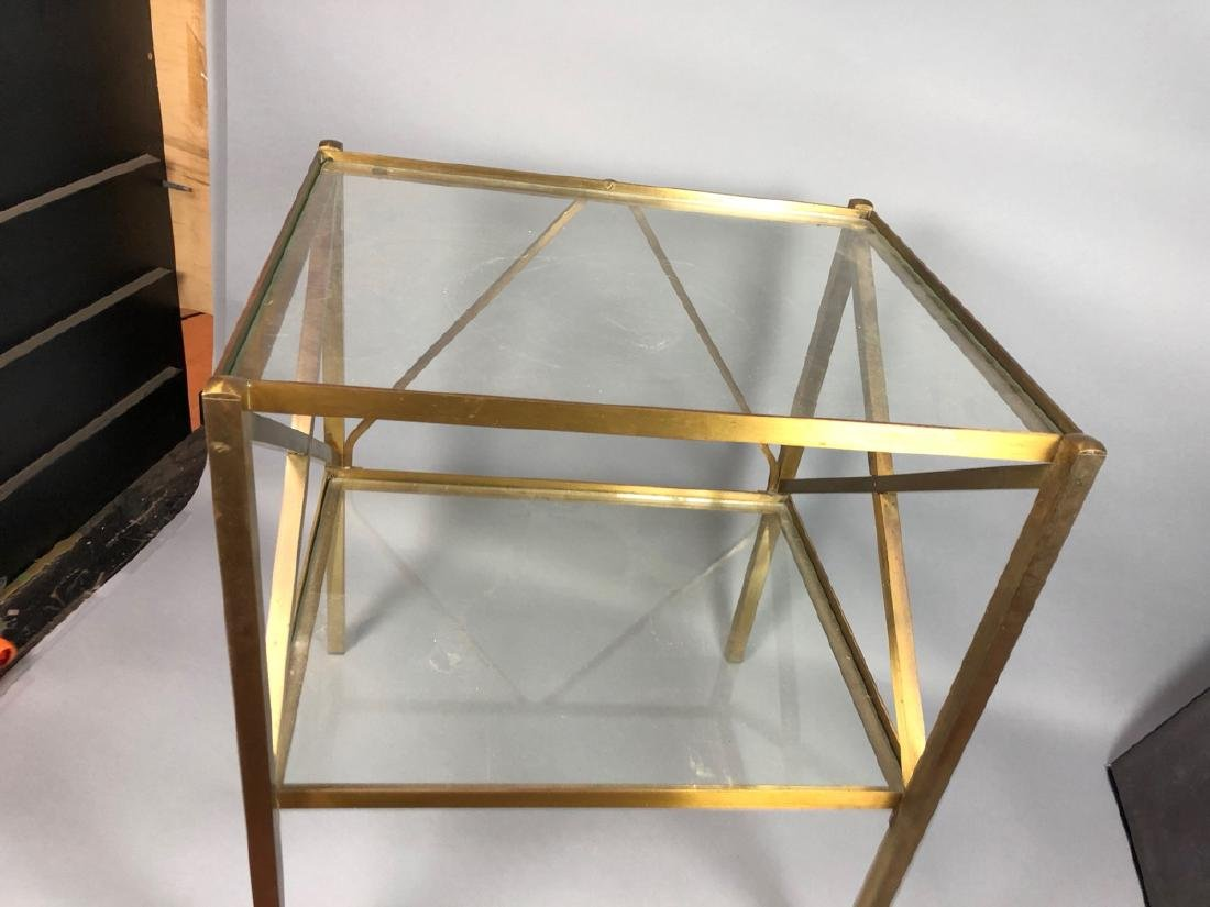 Two Tier Brass & Glass Side End Table. Brass Squa - 3