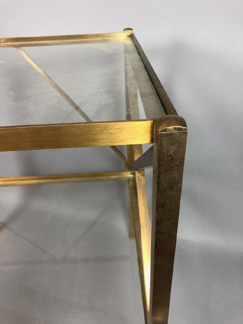 Two Tier Brass & Glass Side End Table. Brass Squa - 4