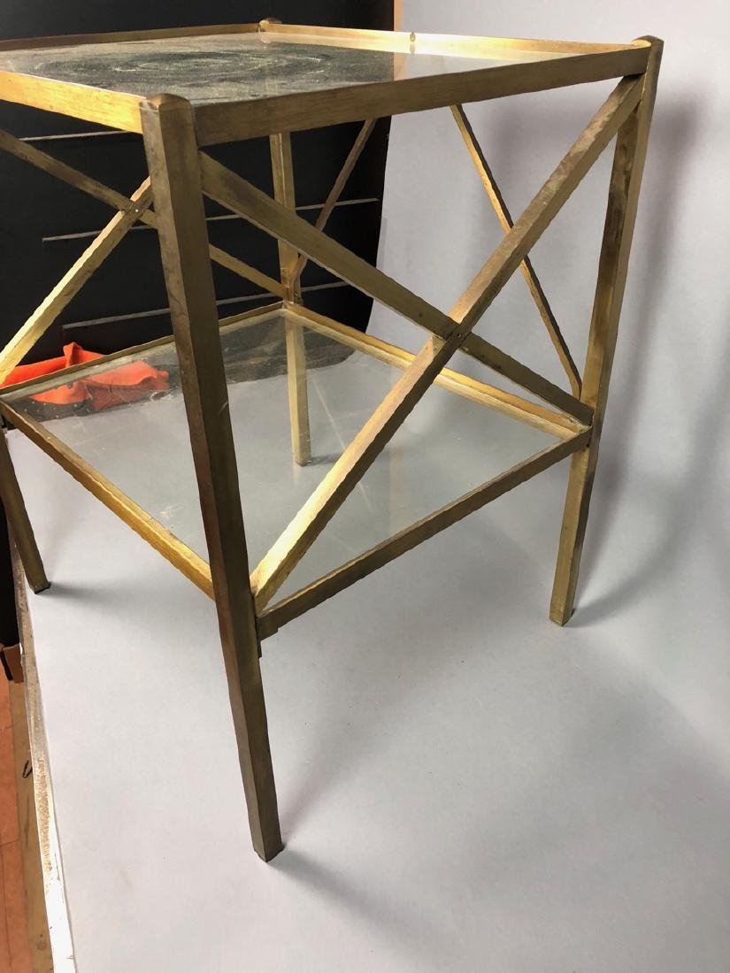 Two Tier Brass & Glass Side End Table. Brass Squa - 5