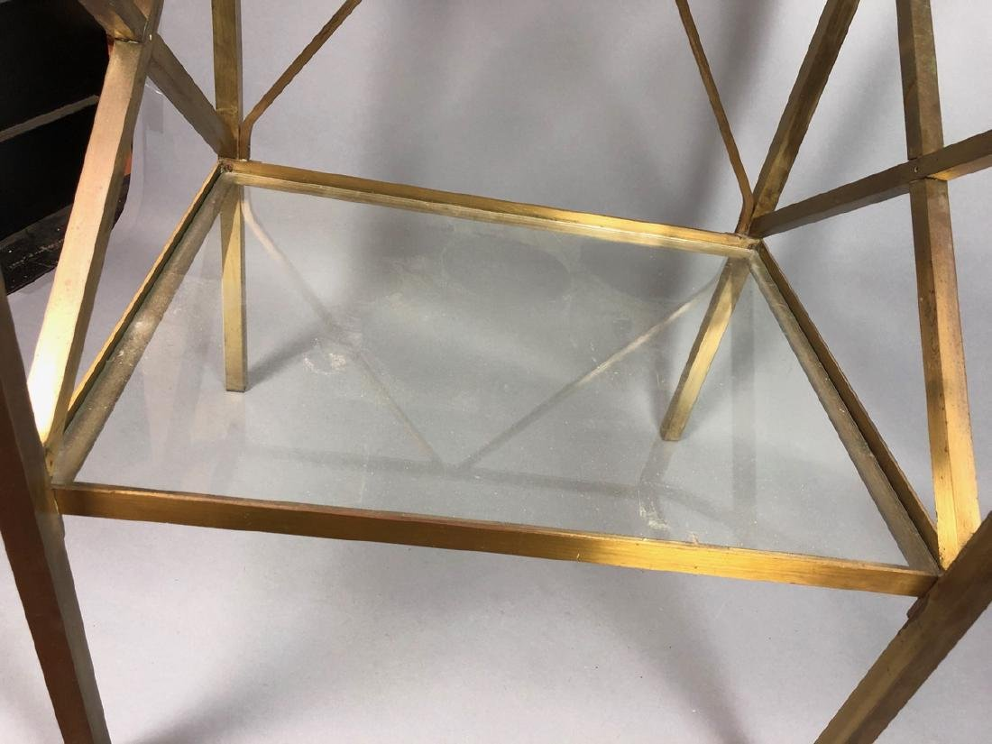 Two Tier Brass & Glass Side End Table. Brass Squa - 6