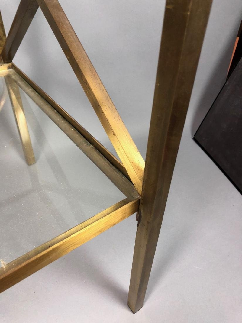 Two Tier Brass & Glass Side End Table. Brass Squa - 7
