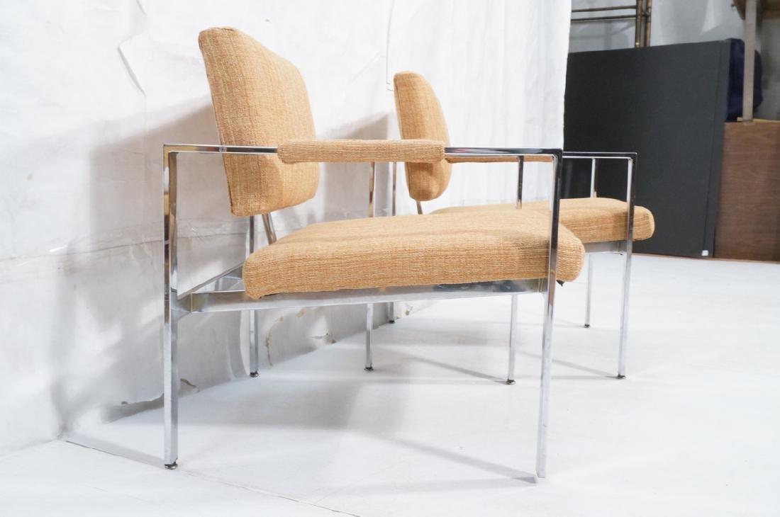 Pr Milo Baughman Chrome Lounge Chairs. Wide flat - 3