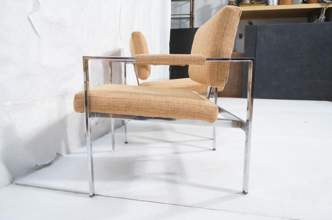 Pr Milo Baughman Chrome Lounge Chairs. Wide flat - 5