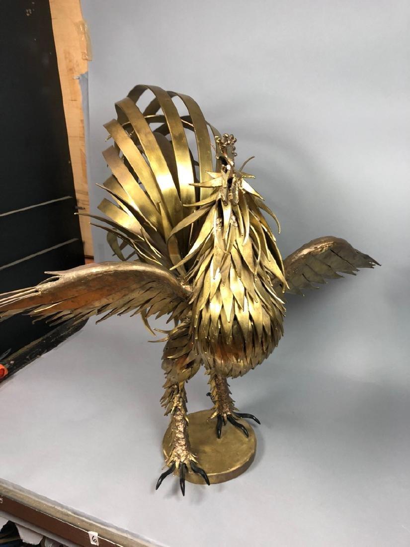 Signed Large Oversized Brutalist Metal Rooster Sc - 2