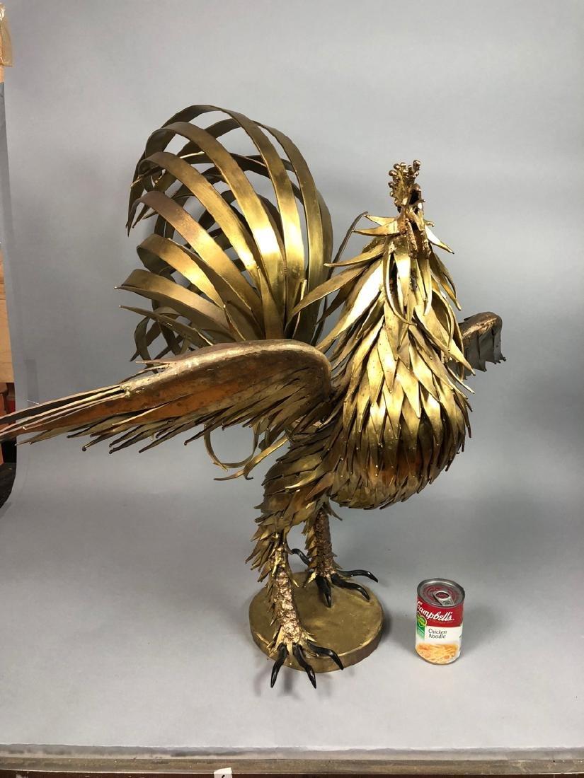 Signed Large Oversized Brutalist Metal Rooster Sc - 9