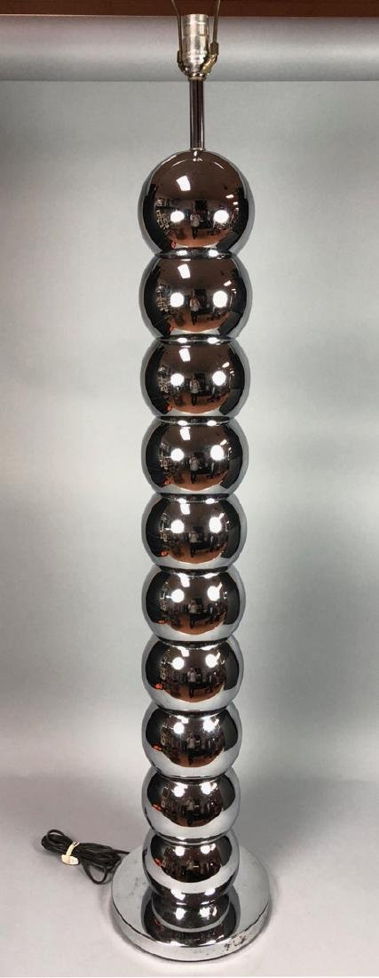 Tall 70's Modern Chrome Ball Floor Lamp. Stacked