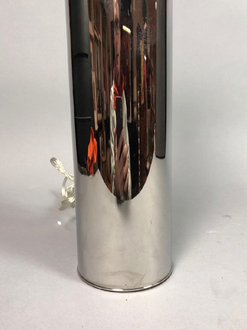 NESSEN  Modern Chrome Column Table Lamp. Marked - 3