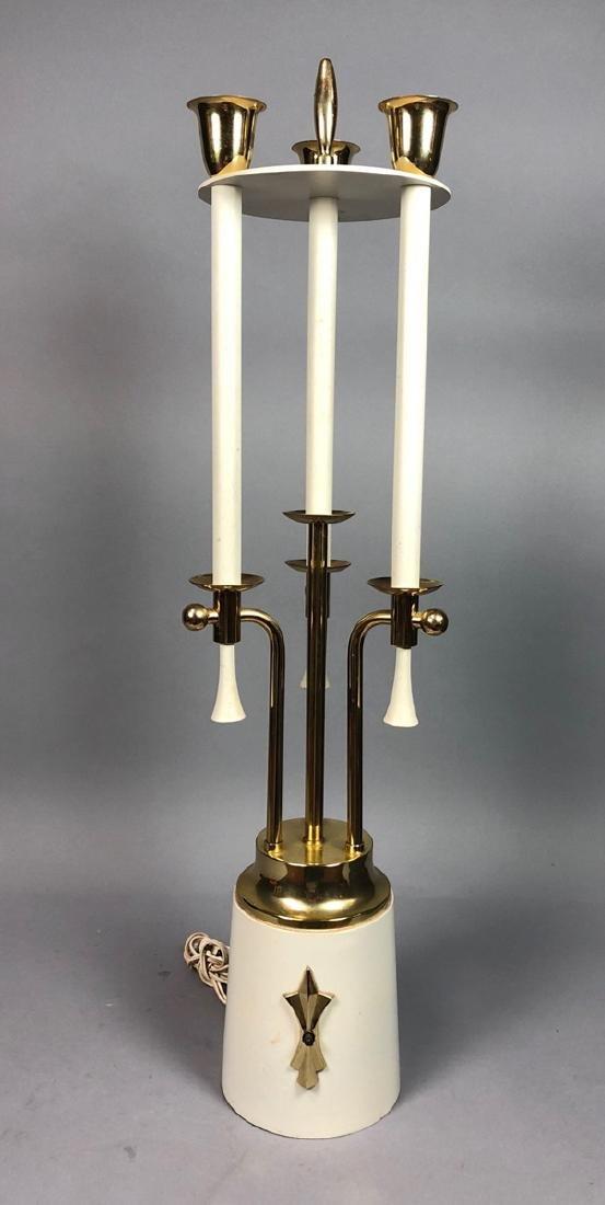 Modern Parzinger Style Cream & Brass Tall Table L