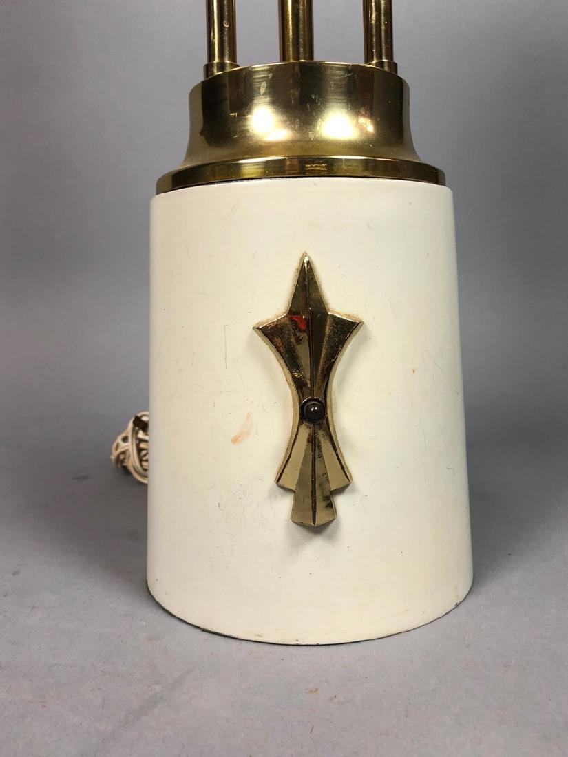 Modern Parzinger Style Cream & Brass Tall Table L - 2