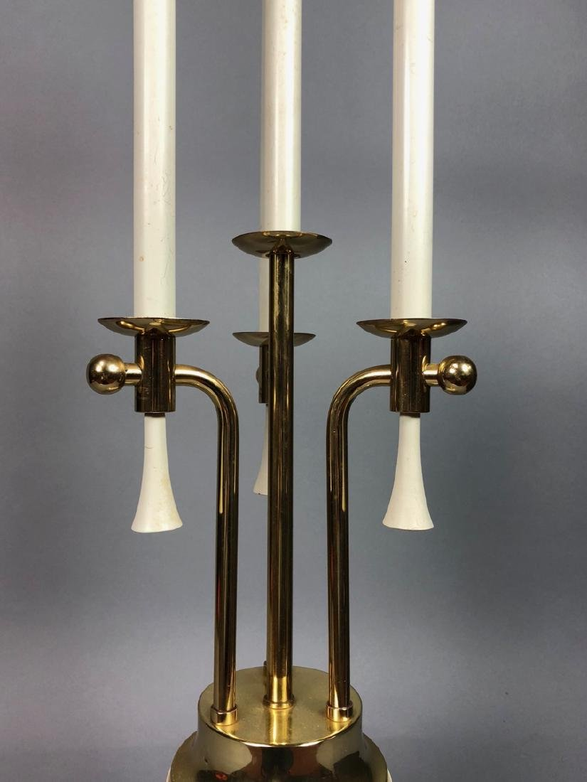 Modern Parzinger Style Cream & Brass Tall Table L - 3
