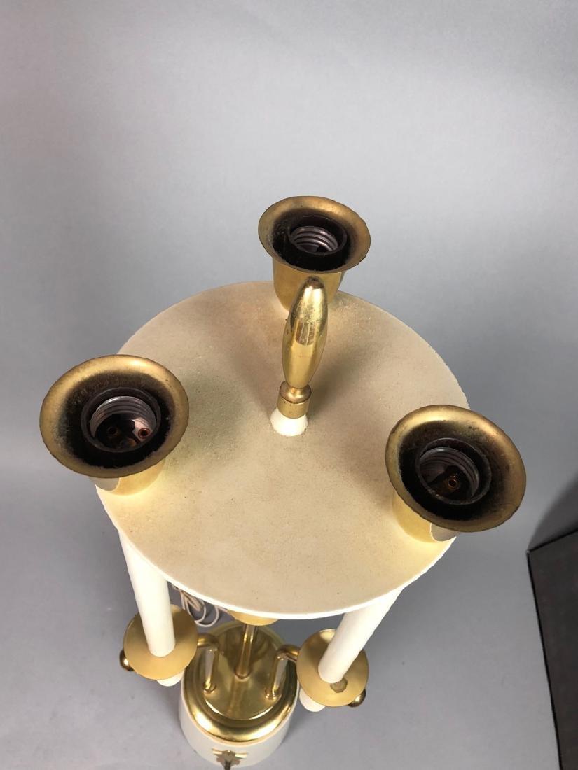 Modern Parzinger Style Cream & Brass Tall Table L - 4