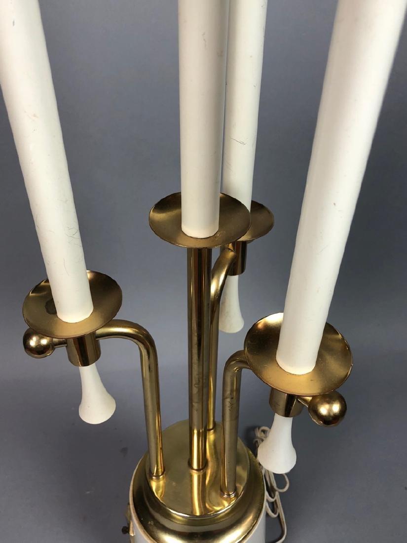 Modern Parzinger Style Cream & Brass Tall Table L - 7