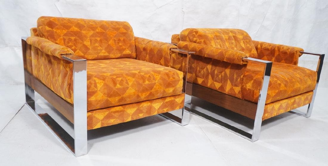 Pr Adrian Pearsall Chrome Frame Lounge Chairs.