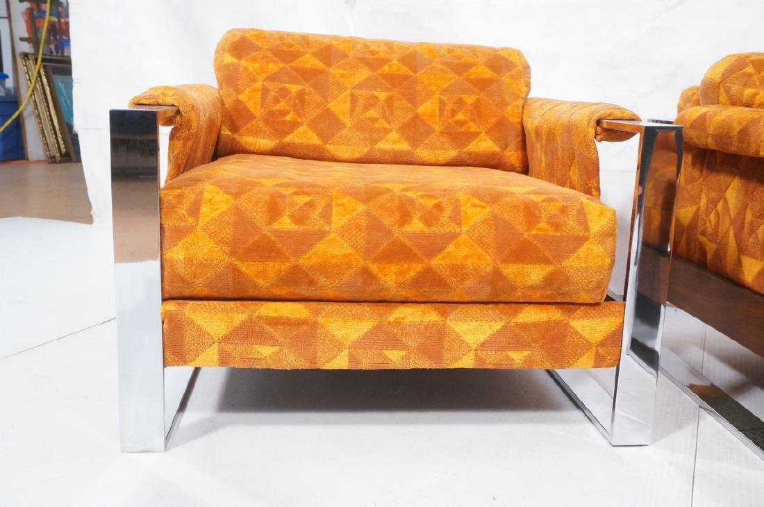 Pr Adrian Pearsall Chrome Frame Lounge Chairs. - 4