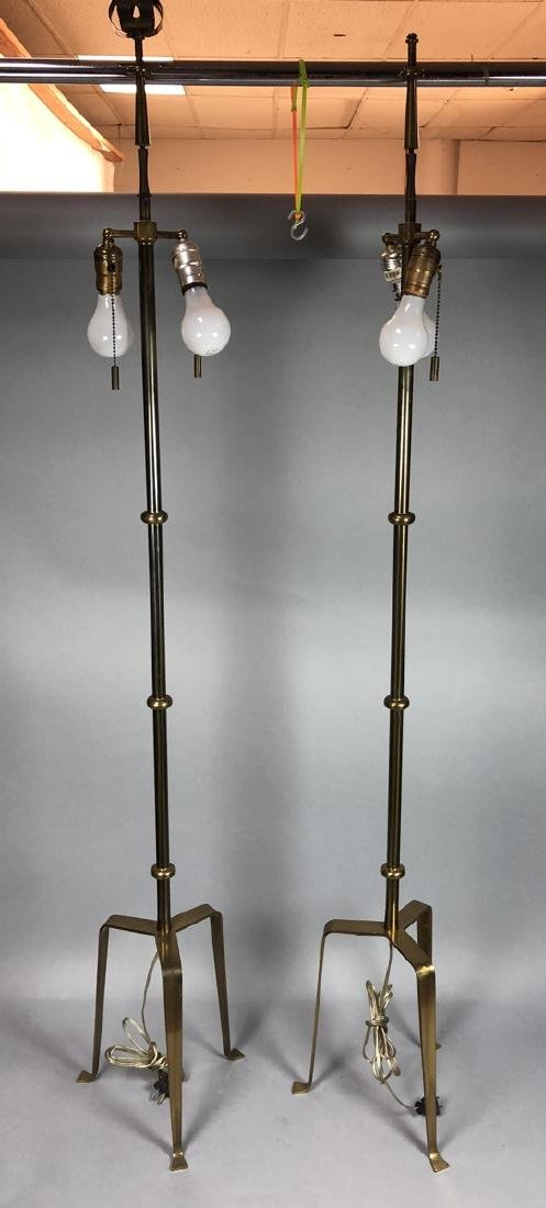 Pr TOMMI PARZINGER Brass Floor Lamps. Tripod Base