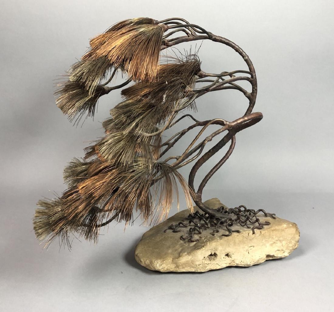 JOHN STECK Brutalist Modern Mixed Metal Tree Sculpture.