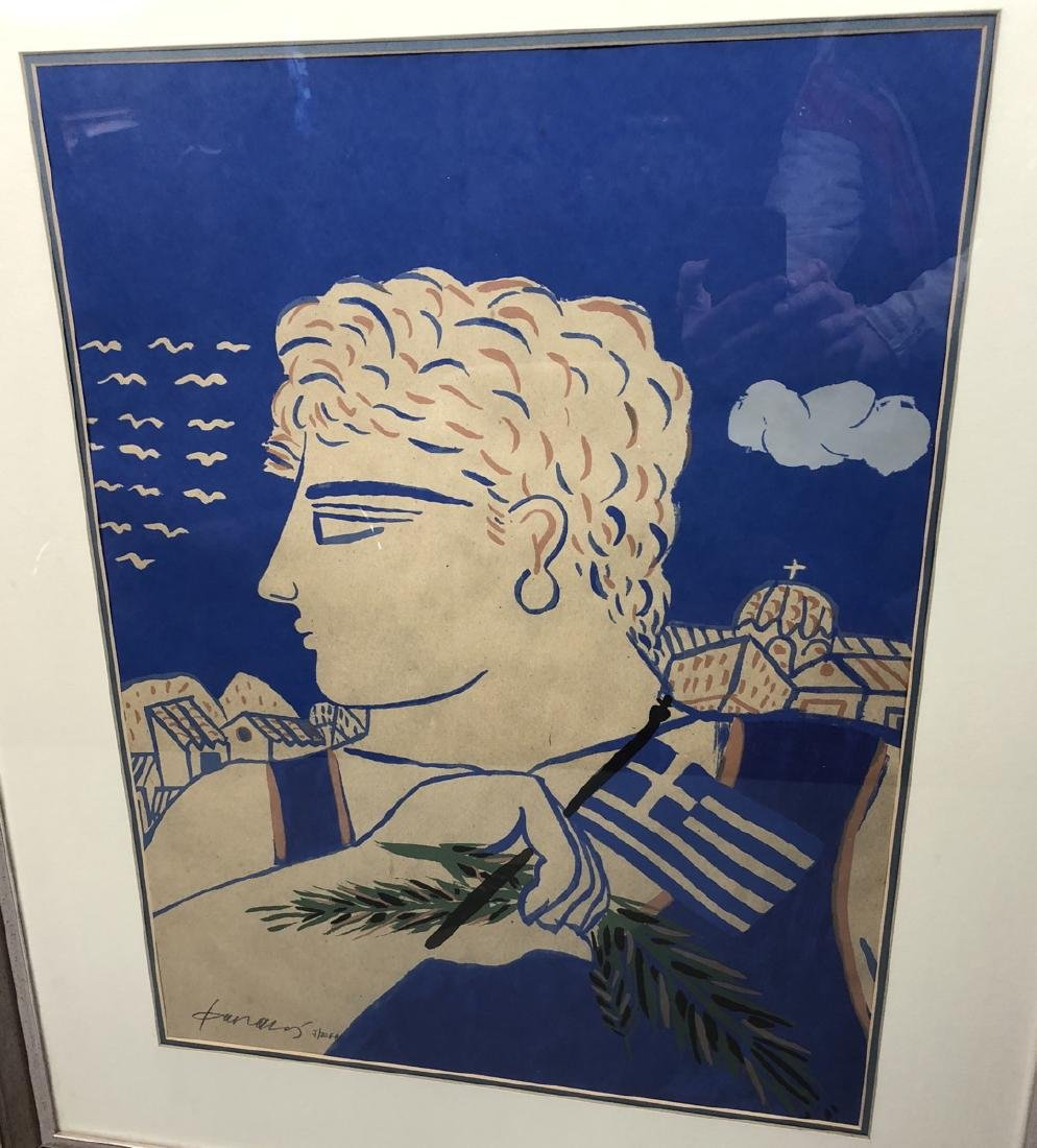 Signed Print Young Greek Man with Flag & Olive Br