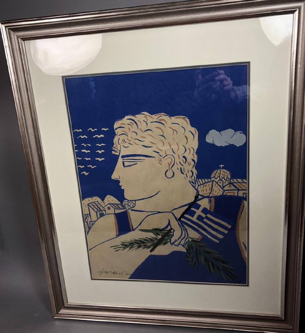 Signed Print Young Greek Man with Flag & Olive Br - 2