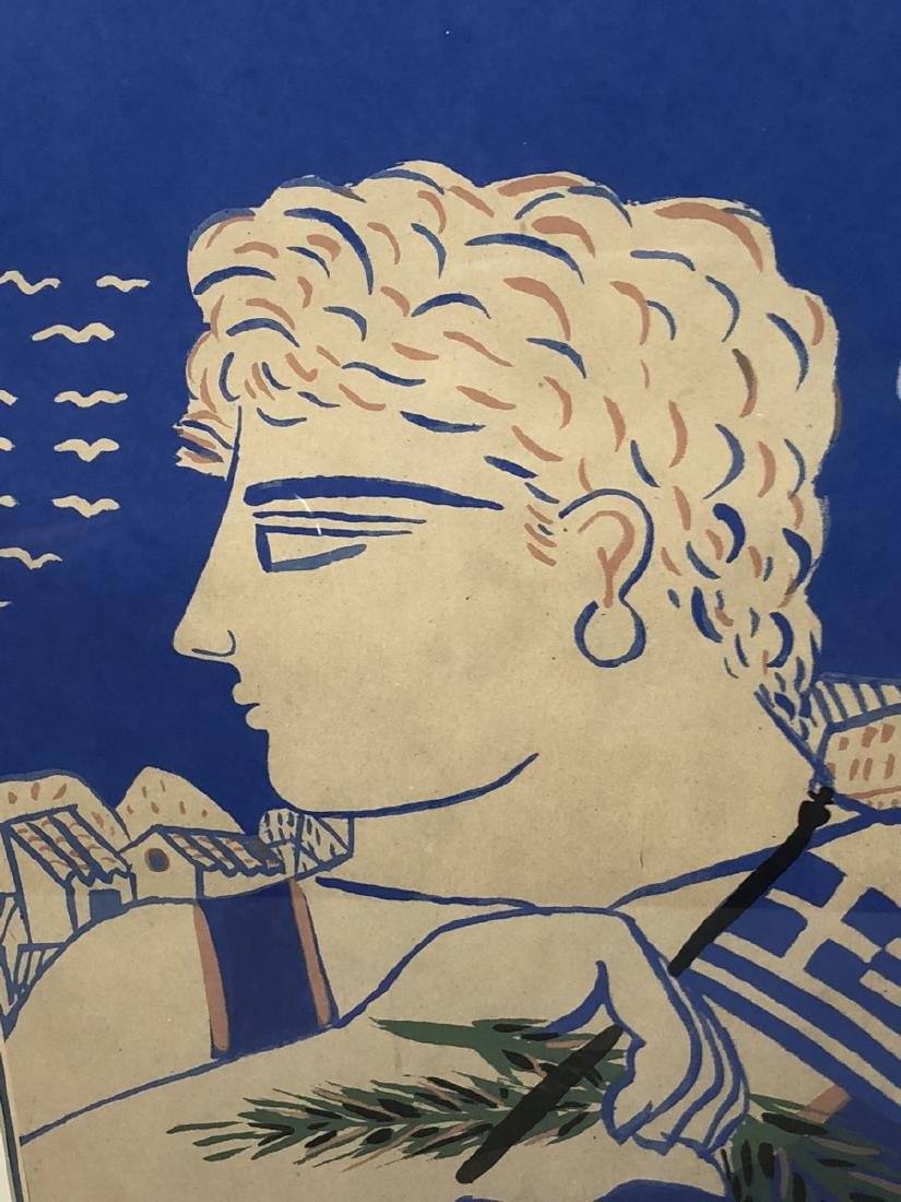 Signed Print Young Greek Man with Flag & Olive Br - 4