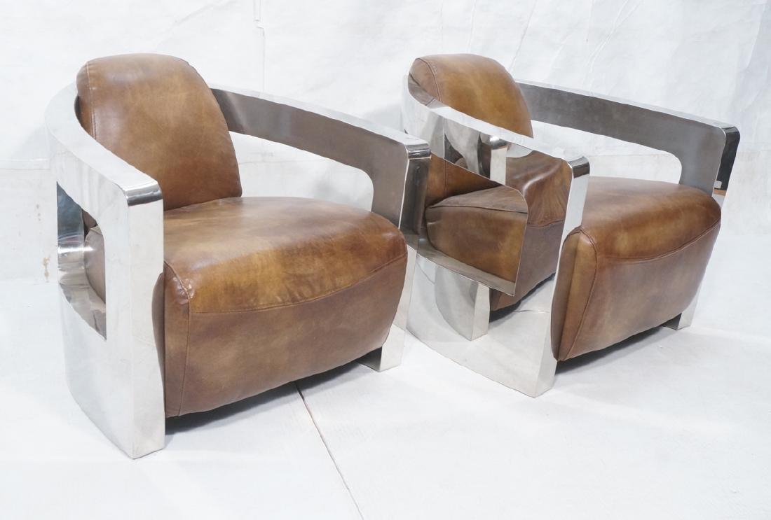 Pr RESTORATION HARDWARE Chromed Steel Lounge Chai