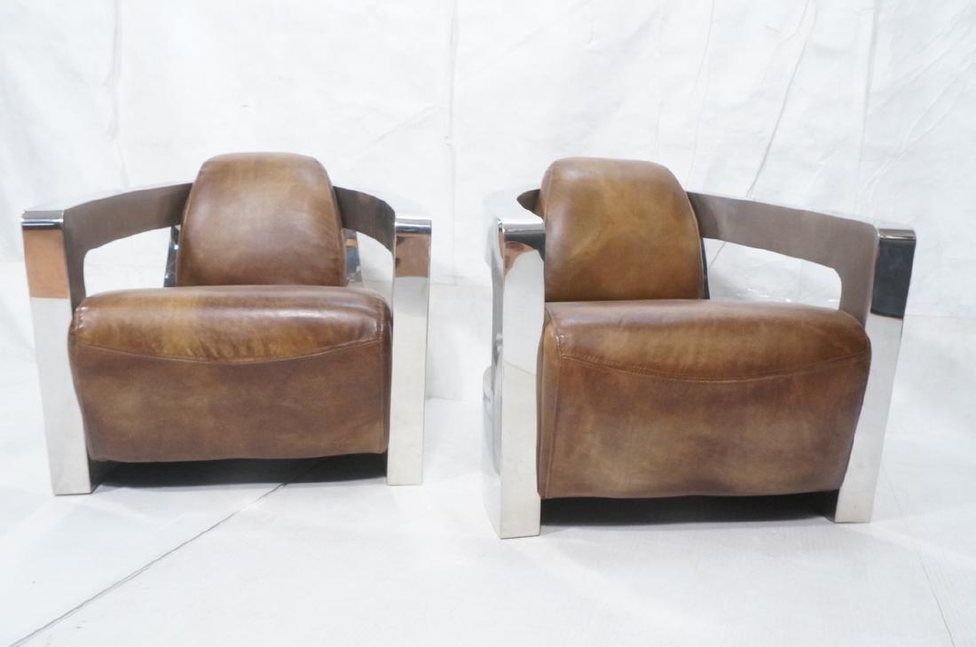 Pr RESTORATION HARDWARE Chromed Steel Lounge Chai - 2