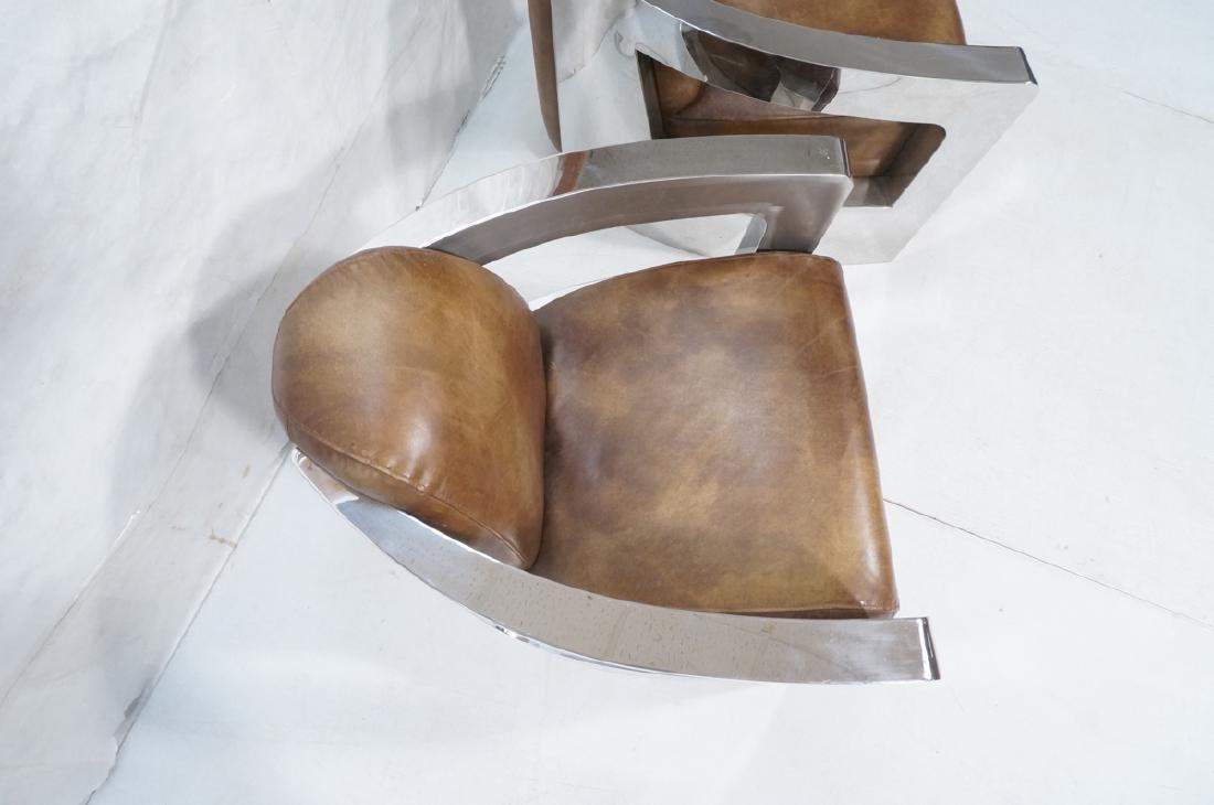 Pr RESTORATION HARDWARE Chromed Steel Lounge Chai - 4