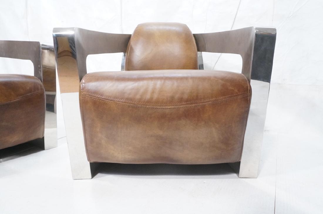 Pr RESTORATION HARDWARE Chromed Steel Lounge Chai - 8