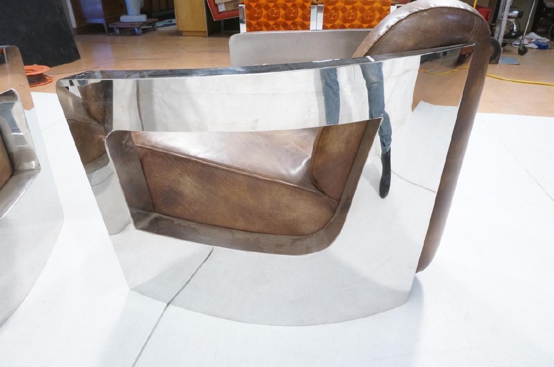Pr RESTORATION HARDWARE Chromed Steel Lounge Chai - 9