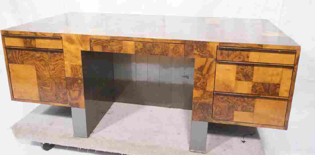 PAUL EVANS Cityscape Burl Wood Executive Desk. La