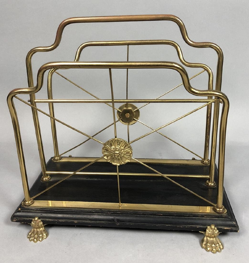 Regency Style Brass Magazine Rack. Decorative fra
